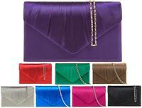 Ladies Pleated Satin Clutch Bag Envelope Evening Bag Party Prom Handbag K8002