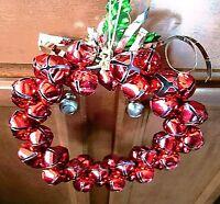 "Jingle Bell Red Christmas Wreath Hanging Door Wall 11"""