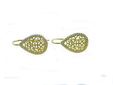 1 paio monachelle goccia filigrana argento 925 placcato oro g. zirconi bianchi