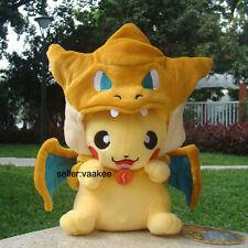 "Pokemon Center Go Pikachu With Charizard Suit 9"" Plush Toy Stuffed Animal Doll"