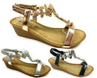 WOMENS LADIES MID WEDGE HEEL SLINGBACK BEADED DIAMANTE OPEN TOE SANDALS SIZE 3-8