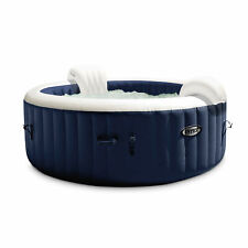 Intex PureSpa Plus 4 Person Portable Inflatable Hot Tub Bubble Jet Spa, Navy