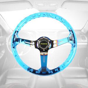 MOMO 6-Holes 350mm Deep Dish Blue Crystal Bubble Burnt Blue Spoke Steering Wheel