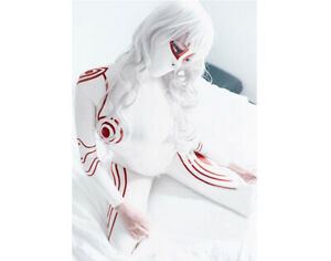 Latex Catsuit Gummi Sexy White Red Trims with Hood Cosplay Cool Customized 0.4mm