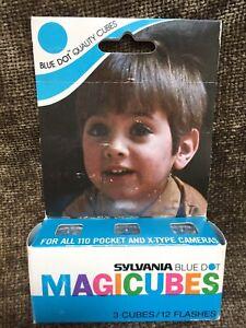 NOS Sylvania Blue Dot Magicubes Camera Flash Cubes 3-Pack 12 Flashes