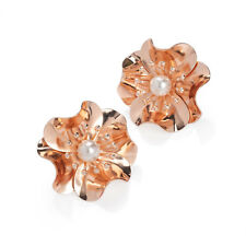 Ladies Rose Gold Coloured White Pearl Crystal Stud Earrings Fashion Jewellery