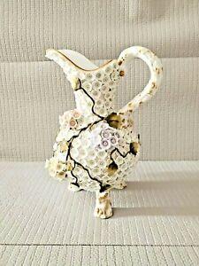 Antique? Schneeballen Porcelain Pitcher Meissen Style  Gold Gilt Paint  11.75''T