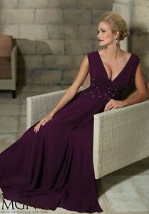 NWT MGNY 71208 Eggplant chiffon/lace long formal evening gown, Size 8