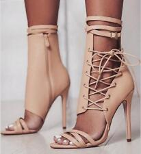 Sexy Women Stiletto High Heels Peep-Toe Shoes Zipper Lace Up Ankle Strappy Boots