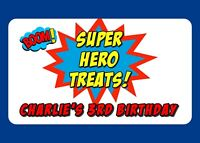 10 LARGE GLOSSY SUPER HERO TREAT BIRTHDAY SWEET PARTY BAG FOOD BOX STICKERS