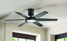 "52"" Hugger Ceiling Fan Integrated LED Light + Remote Fancy Classic Glossy Black"