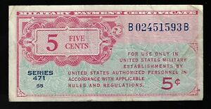 United States America USA military MPC 1947 5 cents  series 471 P-M8 PM8