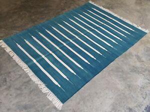 Cotton Flat Weave Rag Rugs Handwoven 4'x6' Blue White Striped Yoga Rug Dhurrie