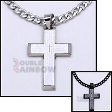 Men's Gold Black Silver Stainless Steel Lord Prayer Cross Pendant Necklace Chain