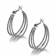 Silver White Gold Filled Thread Style 3-Ring Dangle Huggies Women Party Earrings
