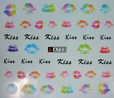Valentines Nail Art Water Decals Stickers Rainbow Neon Lips Gel Polish (A733)
