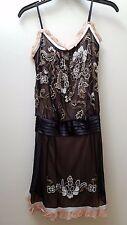 Sue Wong Black & Light Pink - Nocturne Collection - Drop-waist Beaded Silk Dress
