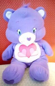 "Large Care Bear Pillow Plush Purple Bear Stuffed Animal Hearts Peace Love 24"""