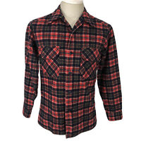 Vintage Pendleton Flannel 100% Wool Red Button Up Plaid Shirt Men's S/M 80s Used