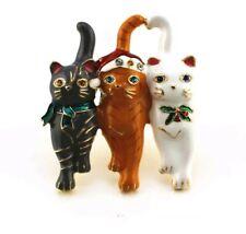 CRYSTAL Christmas Cat  BROOCH WEDDING BIRTHDAY Christmas Festive brooch 871
