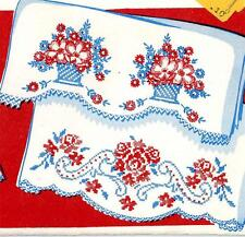 Vintage Embroidery Transfer repo 137 Basket of Flowers Nosegay for Pillow Cases