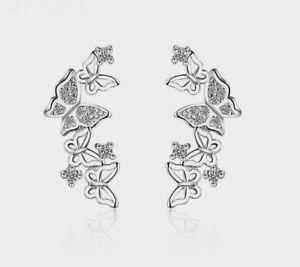 Ohrringe Schmetterlinge Ohrstecker Butterfly Zirkonia 925 Silber Neu