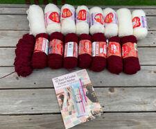 New listing Red Heart Yarn Lot - 8 Skeins Plush Wine - 8 Skeins Light & Lofty Puff