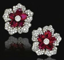 9Ct Oval Cut Ruby Simulant Diamond Floral Stud Earrings White Gold Finish Silver