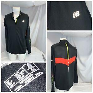 New Balance Running Pullover L Men Black ¼ Zip Poly Stretch Mint YGI F0-179