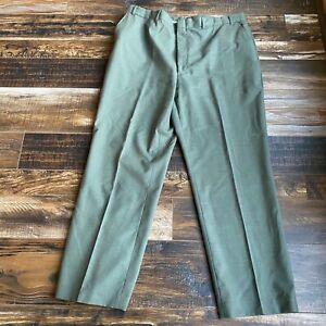 Vtg Lands' End Direct Merchants 100% Wool Dress Pants Size 44 Olive Drab Green