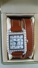 Authentic JUDITH RIPKA  Double Wrap British Tan Leather Strap Watch