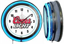 "Coors Light Beer 19"" Double Neon Clock Blue Neon Man Cave Garage Bar Game Room"