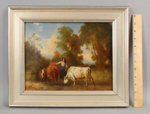 Small 19thC Antique German RICHARD ZIMMERMAN Genre Oil Painting, Woman w/ Cows