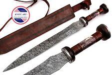 "Custom Handmade Damascus Hunting Knife 24"" Sword Bone + Wooden Handle MBE856"
