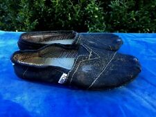 TOMS Canvas Slip On Ballet Flats BLACK GOLD GLITTER CLASSIC Womens Shoes Sz 6.5
