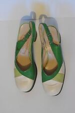 CHAUSSURES VINTAGE 1960 création pindiere vertes et blanches taille 36 - 3,5 UK