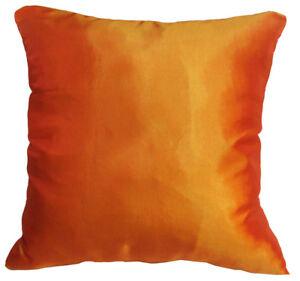 ja105a 2 Pcs Gold Orange Poly Taffeta Plain Cushion/Pillow Cover *Custom Size