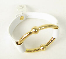 NWT Ralph Lauren Sculptural Gold Oval White Leather Button Band  Bracelet $48