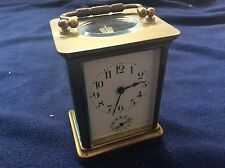 Antique French Carriage Clock Bell Alarm Porcelain Face Runs