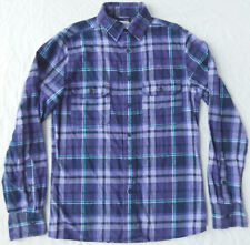 Purple / Black Plaid Long Sleeve Flannel Shirt - Small Mens Cotton Mossimo
