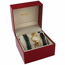 Women's14k Gold Plated Interchangeable Pearl & Leather Watch Gift Set by Peugeot