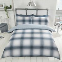 "Rapport ""Oakland Check""  Tartan, Reversible Star Duvet Cover Bedding Set Blue"