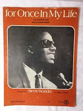 Collectible vintage Stevie Wonder sheet music, For Once In My Life, mid-century