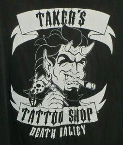 1998 WWF Taker's Tattoo Shop Graphic Men's Black Shirt XXL VTG WWE WCW VTG 90s