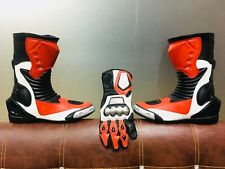 Motorbike Motorcycle Leather Racing Boots Protective Street  Long Boots & Gloves
