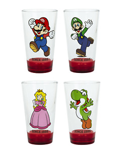 Super Mario Bros Pint Glass SetMario Luigi Yoshi Princess Peach FREE SHIPPING