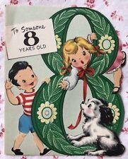 Vintage 1950s Die-Cut Birthday Greeting Card Cute Little Boy, Girl, & Puppy Dog