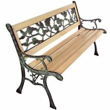 Patio Outdoor Park Vintage Wooden and Iron Garden Bench w/ Rose Pattern Backrest