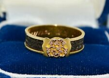 Antique french 18 carat gold mourning ring in very fine condition 1894