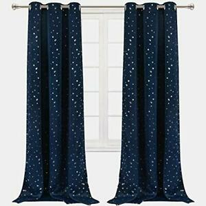 VERTKREA Star Window Curtain Blackout Window Curtains for Kids' Room Nursery ...